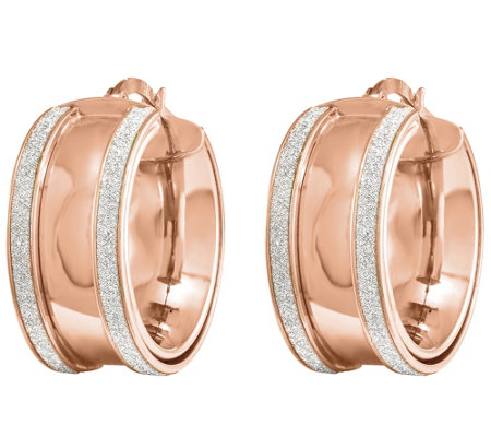 14K Gold Polished Glimmer-Infused Hinged Hoop Earrings