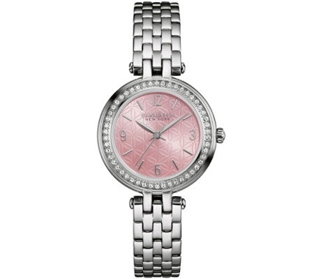 Caravelle New York Pink Floral Face Women's Watch