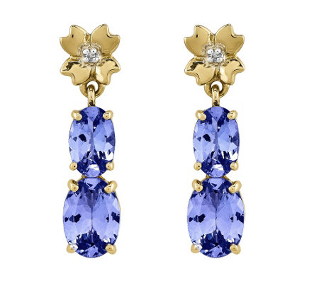 1.55 cttw Tanzanite & Diamond Accents Dangle Earrings, 14K