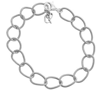 "Carolyn Pollack Sterling Twisted Rope Link Chain 8"" Bracelet - J343615"