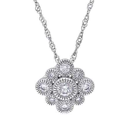 Floral Diamond Pendant w/Chain, 14K, 1/4 cttw,by Affinity