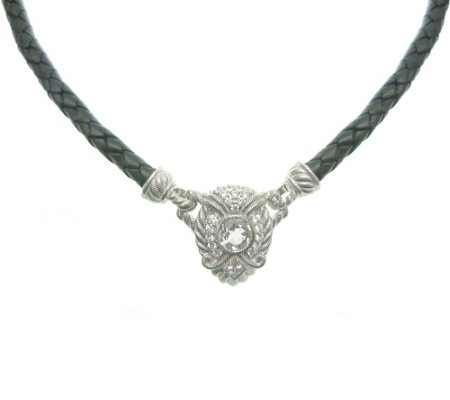 "Judith Ripka Sterling Silver & Leather 17"" Necklace"