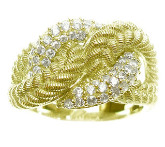 Judith Ripka Sterling & 14K Clad Diamonique Twist Ring - J344915