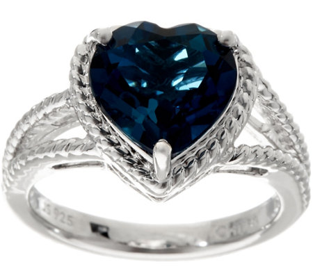 Heart Cut London Blue Topaz Sterling Silver Ring 3.50 ct