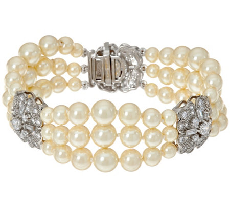 Grace Kelly Collection 3 Strand Simulated Pearl Bracelet