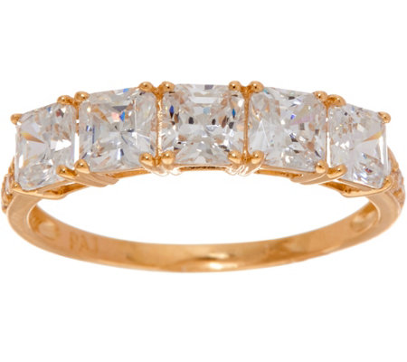 Diamonique Five Stone Princess Cut Band Ring, 14k Gold