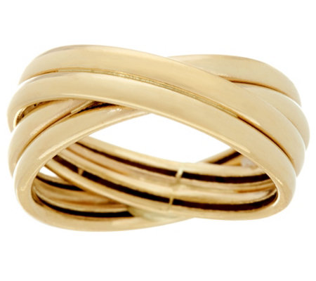 """As Is"" 14K Gold Polished Crossover Design Band Ring"