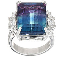 Cushion Cut Bi-Color Fluorite Ring Sterling, 11.75 cttw - J349415