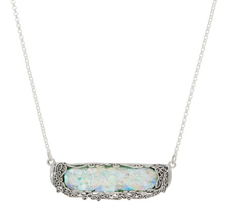 Or Paz Sterling Silver Roman Glass Bar Necklace