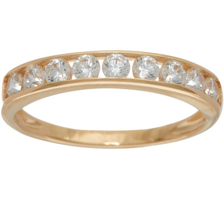 """As Is"" Diamonique Channel Set Band Ring, 14K Gold"