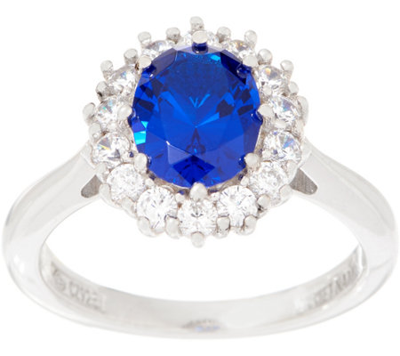 Diamonique Royal Collection Oval Halo Ring, Sterling Silver