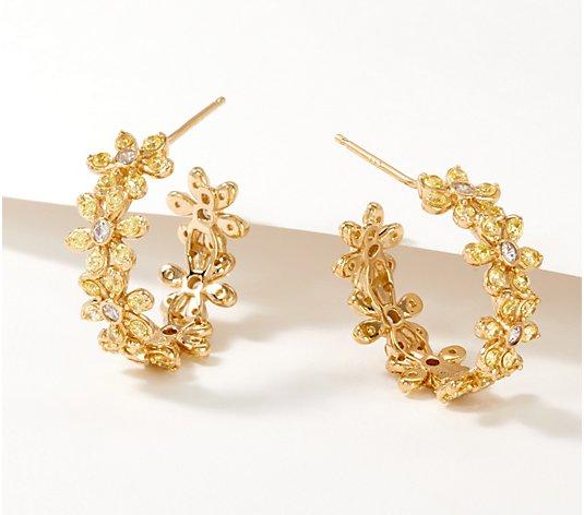 Bronze I Yellow Single Floral Earrings