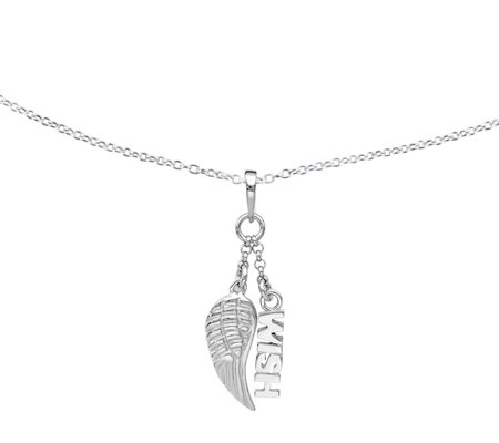 Sterling Wish & Wing Pendant w/Chain by SilverStyle