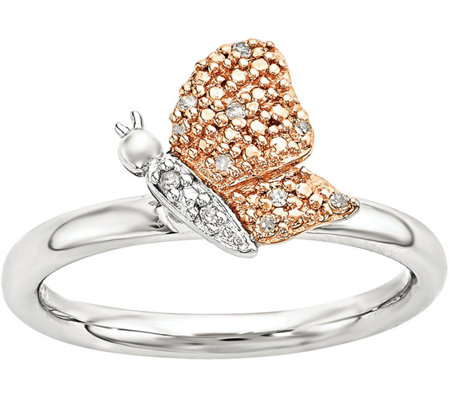 Simply Stacks Sterling Diamond Butterfly Ring
