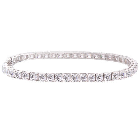 Epiphany Platinum Clad Diamonique Asscher Cut Tennis Bracelet