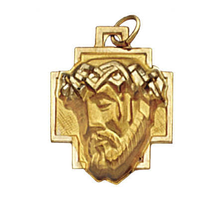 14K Yellow Gold Christ Head Pendant