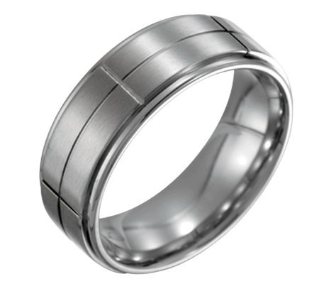 Forza Men's 8mm Steel Grooved Satin PolishedRing