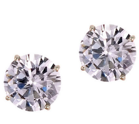 Diamonique 3.00 ct tw 100-Facet Stud Earrings,1 4K Gold