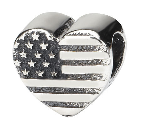 Prerogatives Sterling Heart Flag Bead