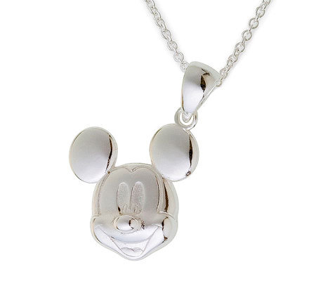Disney Sterling Silver Mickey Mouse Pendant w/Chain