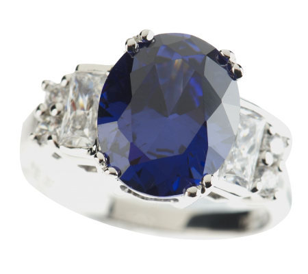 Epiphany Diamonique Simulated Tanzanite Oval Ring