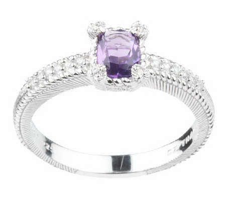 Judith Ripka Sterling Gemstone Princess Cut Stack Ring