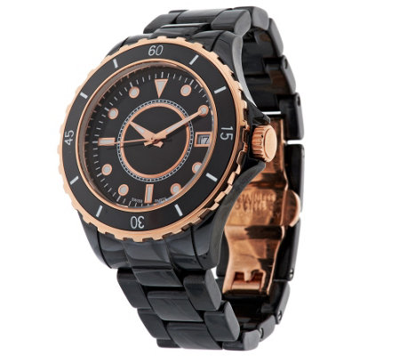 """As Is"" Bronzo Italia Round Ceramic Dial Bracelet Watch"