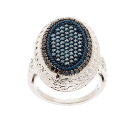 Pave' Blue & Black Oval Diamond Ring, Sterling, 1cttw by Affinity