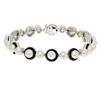 """As Is"" Honora Cultured Pearl 5.5mm & Black Spinel Sterling Avg. Bracelet - J279516"