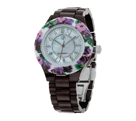 Isaac Mizrahi Live! Ceramic Watch with Floral Printed Bezel
