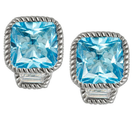 Judith Ripka Sterling 10.00cttw Blue Topaz Button Earrings