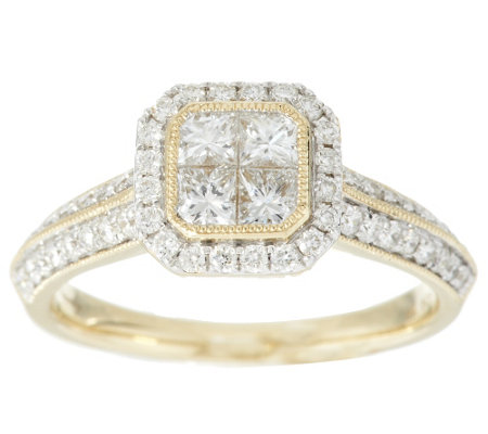 Michael Beaudry 1 cttw Diamond Cushion Halo Ring, 14K Gold