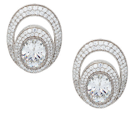 Judith Ripka 13.65cttw Oval and Pave Diamonique Earrings