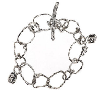 """As Is"" Hagit Sterling Average Textured Link Toggle Bracelet - J292116"
