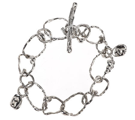 """As Is"" Hagit Sterling Average Textured Link Toggle Bracelet"