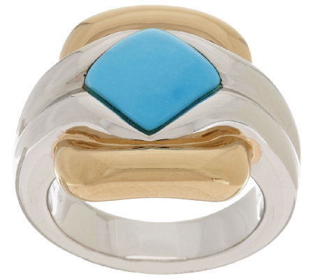 14K Gold Sleeping Beauty Turquoise Two-Tone Polished Ring