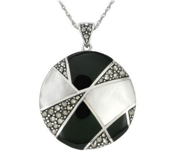 Suspicion Sterling Onyx & Mother-of-Pearl Pendant w/ Chain - J298516