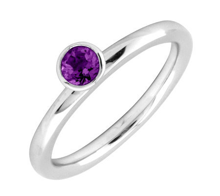 Simply Stacks Sterling 4mm Amethyst Solitaire Stackable Ring