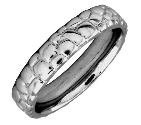 Simply Stacks Sterling Black Rhodium-Plated Cobble 4.25mm Ring