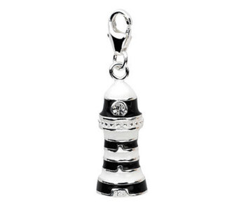 Amore La Vita Sterling Black and White Lighthouse Charm - J307816