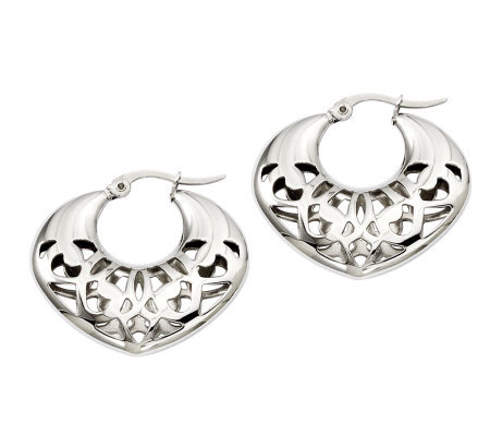 Stainless Steel Fancy Cut-Out Hoop Earrings