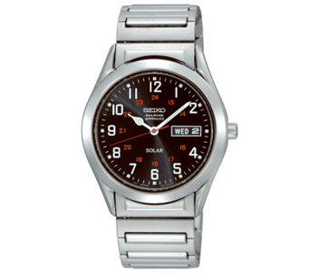 Seiko Men's Stainless Steel Black Dial Expansion Band Watch - J309116