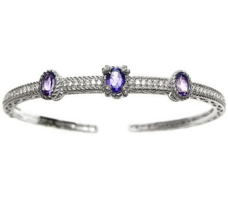 Judith Ripka Sterling Diamonique & Oval Gemstone Hinged Cuff