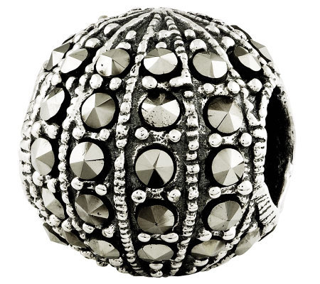 Prerogatives Sterling Marcasite Textured Bead