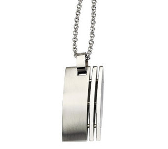 "Forza Stainless Steel Brushed Dog Tag Pendant w/ 22"" Chain - J313116"