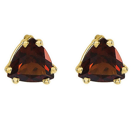 Trillion-Cut Gemstone Stud Earrings, 14K Gold