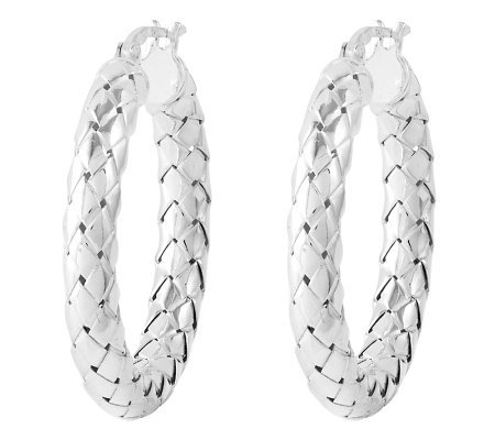 "Sterling 1"" Polished Woven Design Round Hoop Earrings"