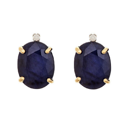 3.80 cttw Oval Gemstone & Diamond Accent Stud Earrings, 14K