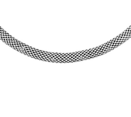 "Sterling 18"" Onyx Accented Mesh Necklace"