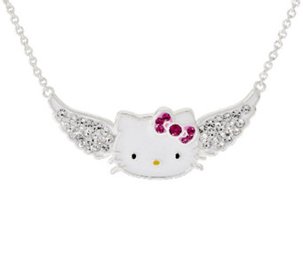 Hello Kitty Crystal Pave Angel Wing Station Necklace - J318216